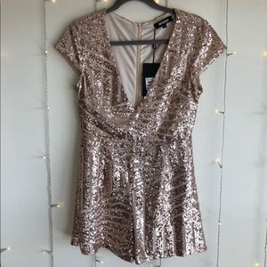 Missguided Rose Gold Sparkle Romper